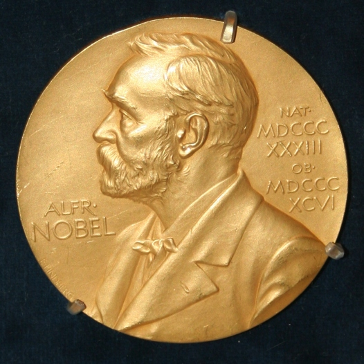 "alt=""An image of the Nobel Prize! Gold coin with Alfred Nobel on the front."""